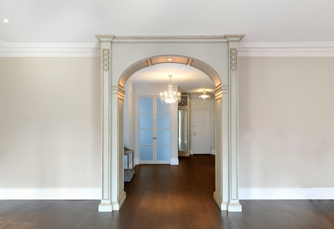 Modern Entry with ceiling mount light fixture