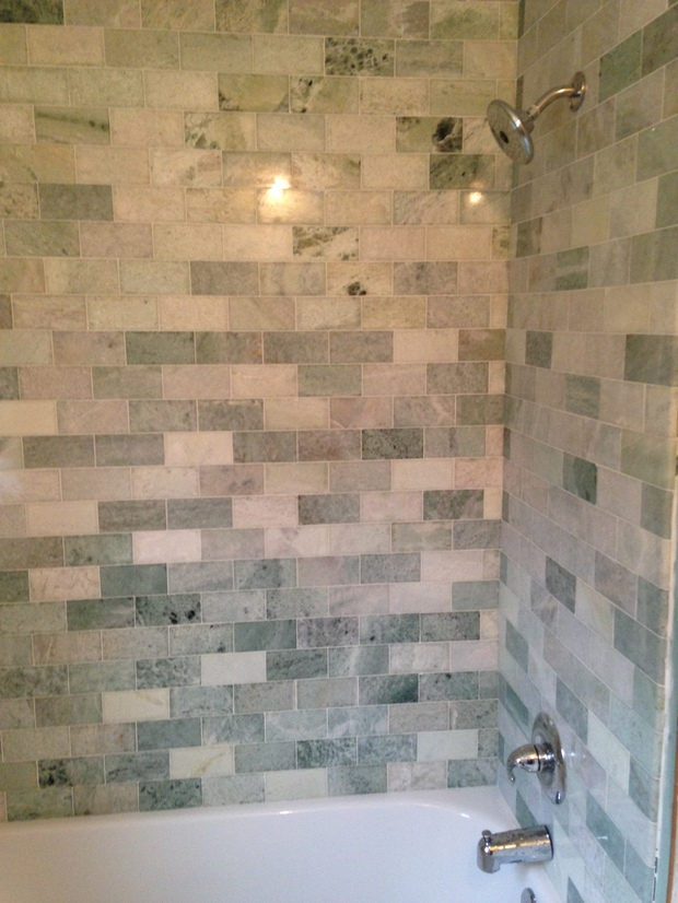 Modern Bathroom In Brooklyn Grey Tones Offset Tile Pattern By Vjv Home Improvements