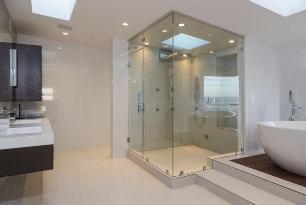 Contemporary Bathroom In Marina Del Rey White Tiled