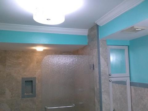 Transitional Bathroom with ceramic tile shower surround