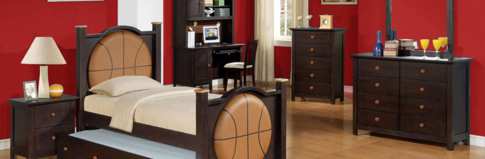 Transitional Kids Room with basketball themed bedroom