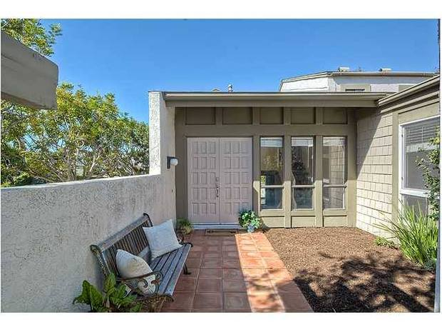 Mid Century Modern Porch In San Diego Tiled Walkway Stucco Privacy Wall By Couple O Bucks