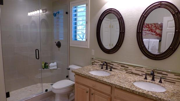 Transitional Bathroom In Scottsdale Studded Frames Double Sinks By New Legacy Building