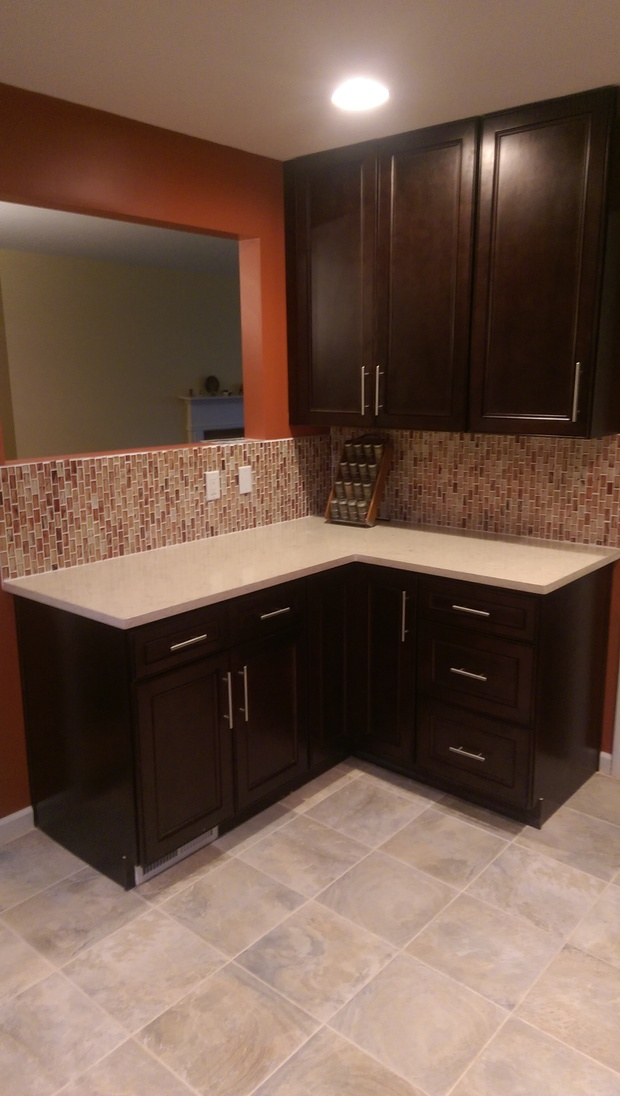 Transitional Kitchen In Yonkers Tile Floor Mosaic Tile By Edm Contracting Inc