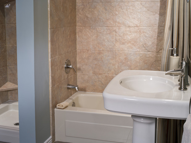 Fiberglass Walk Boards : Traditional bathroom in meridian fiberglass shower