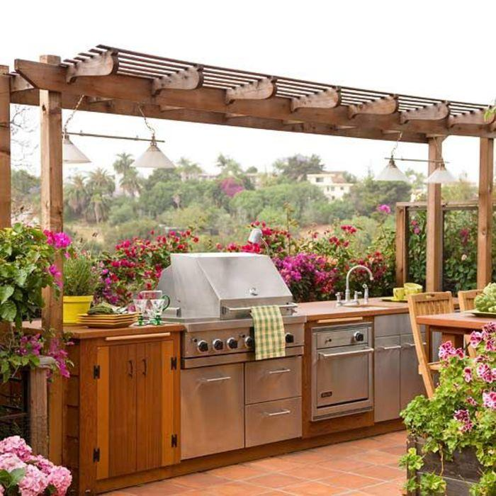 Outdoor kitchen with awning