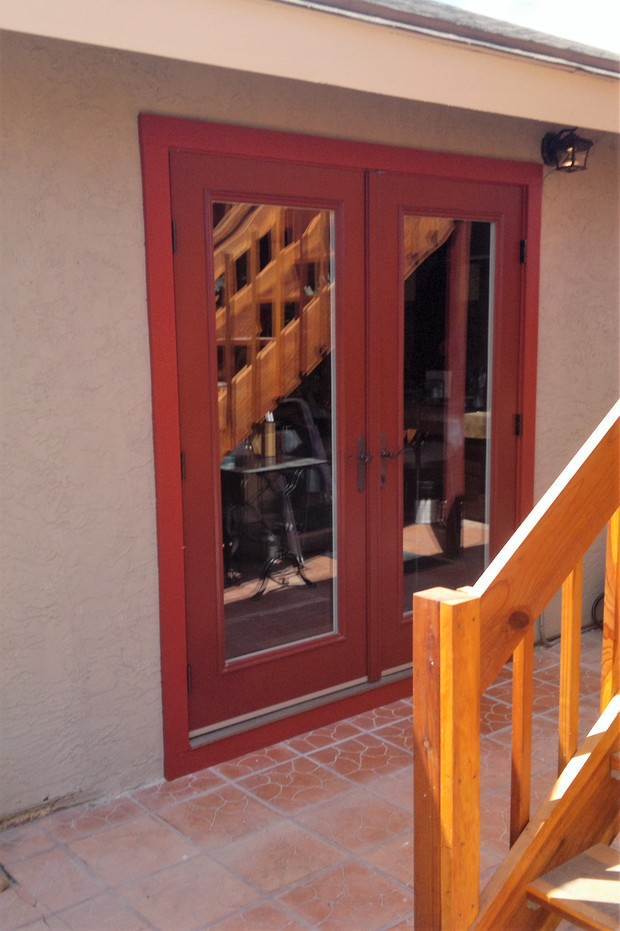 Mediterranean Patio In San Diego Tan Stucco Exterior Red French Doors By Action Window And Door