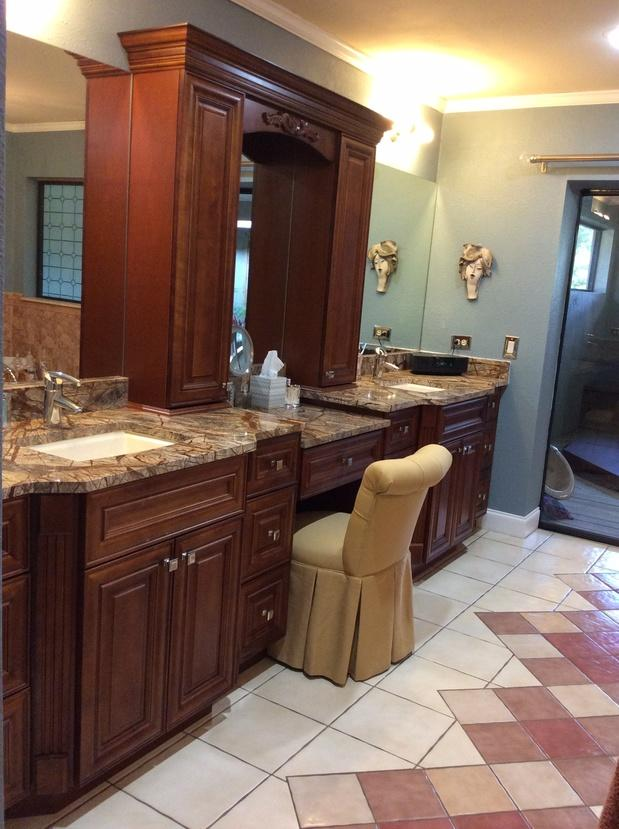 Transitional Bathroom In Clearwater Make Up Chair Green