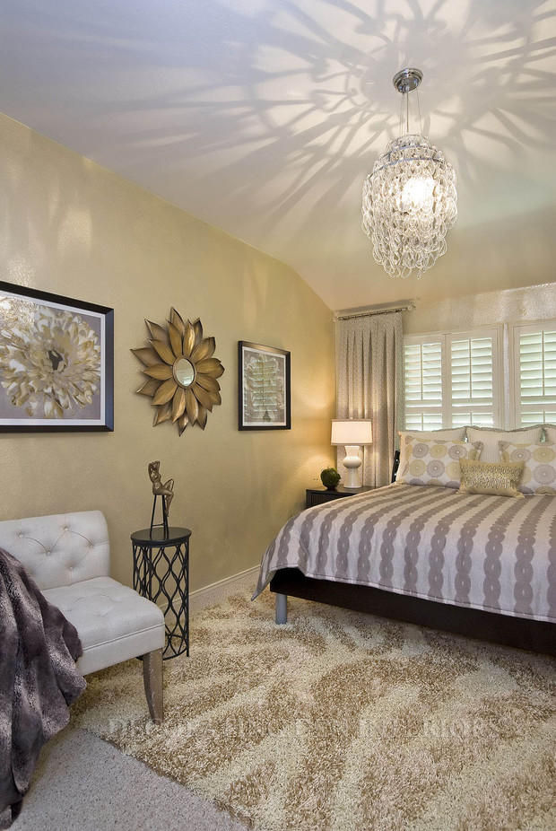 Transitional Bedroom In Flower Mound Vaulted Ceiling White Side Lamp By Decorating Den