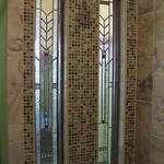 Eclectic Bathroom with leaded glass windows