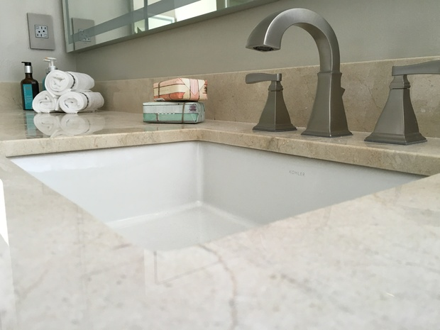 Contemporary Bathroom In Weston Brushed Bronze Fixtures Crema Marfil Marble Countertop By