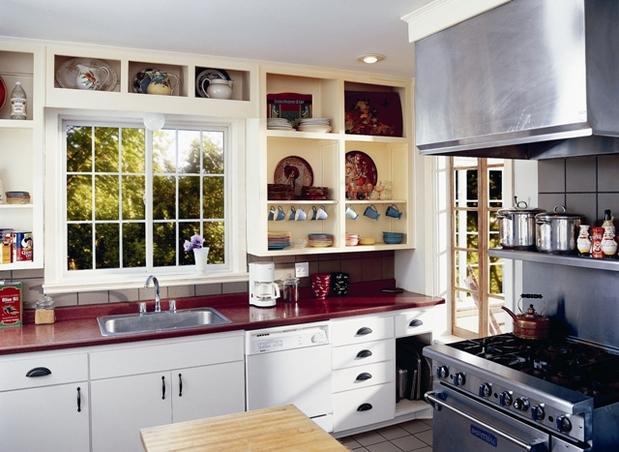 cottage kitchen in san antonio red countertops ceramic