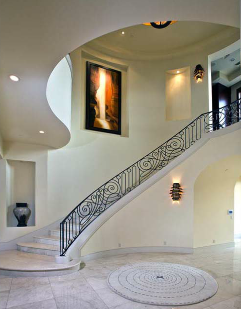 Modern Entry with white marble tile floor