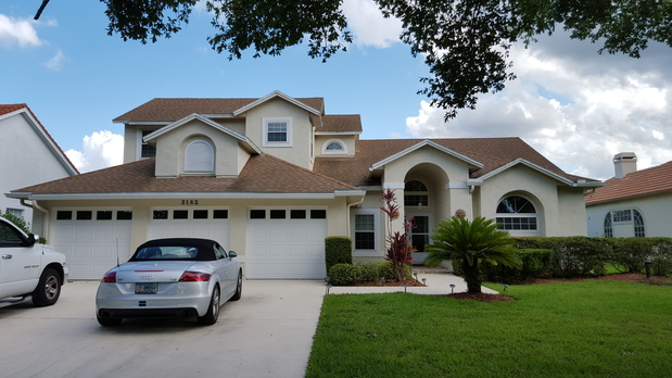 Mediterranean Home Exterior In Orlando Arched Front Entry Single Car Garag