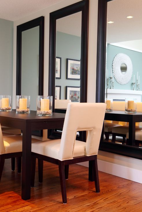Contemporary dining room in pembroke pines wall mounted for Pastel dining room ideas