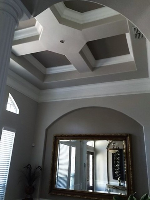 Transitional Dining Room In Orlando Crown Moulding