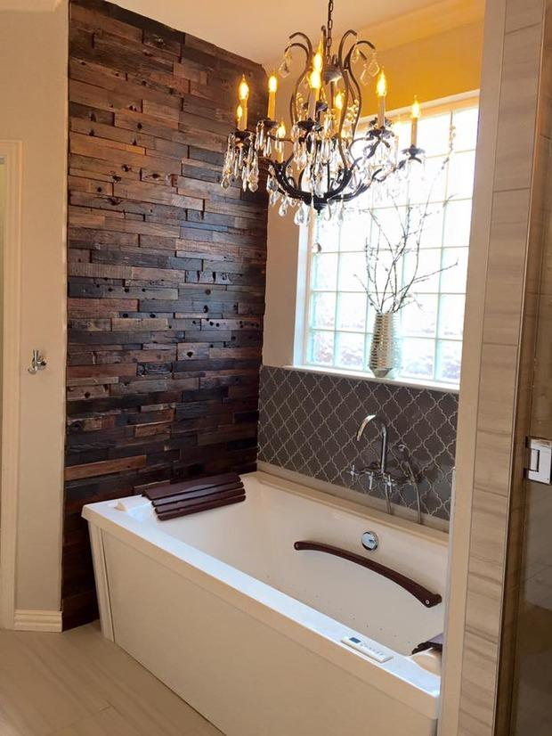 Eclectic bathroom in fort worth repurposed wood accent for Bath remodel fort worth