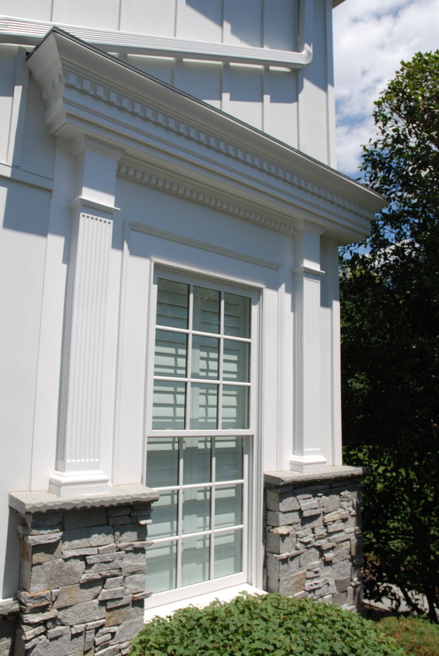 Arts Crafts Home Exterior In Fairfax Fluted Window Pilaster Board And Batten Siding By