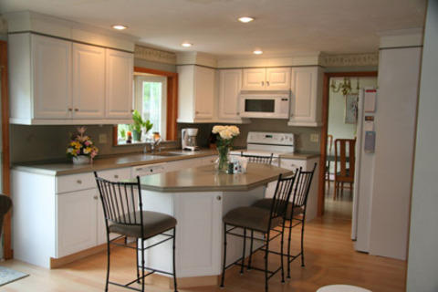 Traditional Kitchen In Rochester Light Hardwood Flooring Green Solid Surface Countertop By