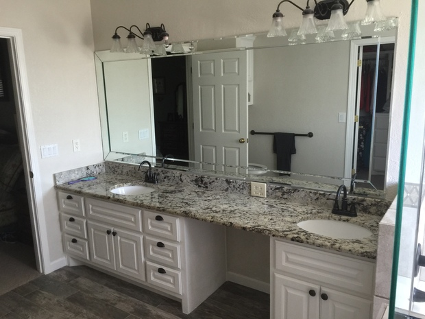Transitional Bathroom In Amarillo Tan Granite Countertop Tan Wall Paint By Tri State Remodeling