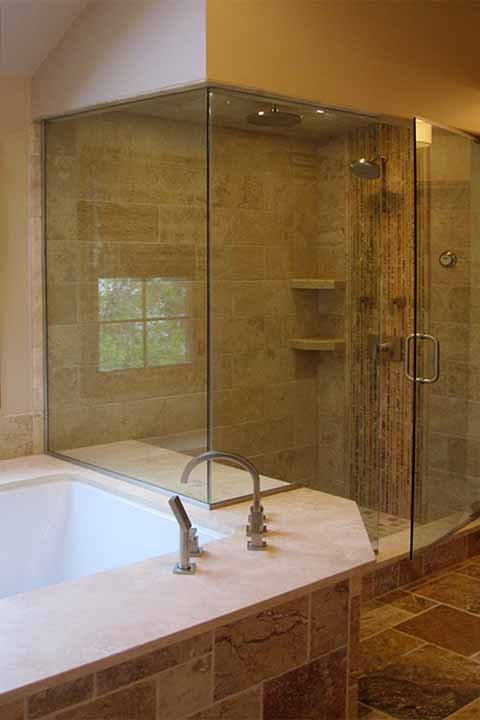 Contemporary Bathroom In Naperville Glass Shower Door Beige Painted Walls By Deborah