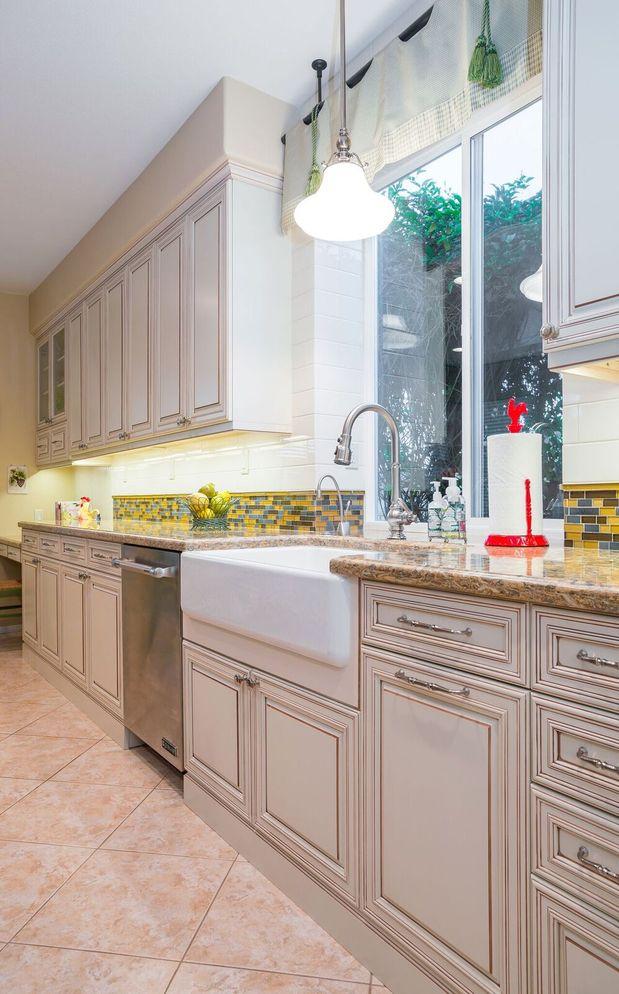Transitional Kitchen In Palm Desert White Subway Tile Backsplash Raised Panel Cabinets By