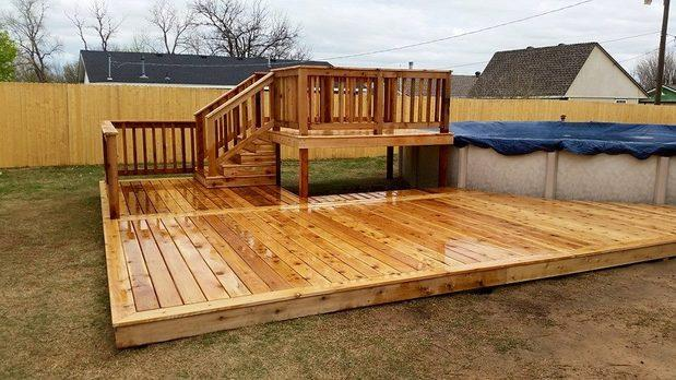 Traditional Deck In Edmond Above Ground Pool Ground
