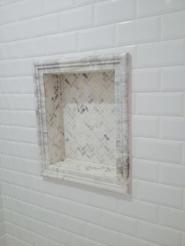 French Country Bathroom In Humble Mosaic Tile Shower