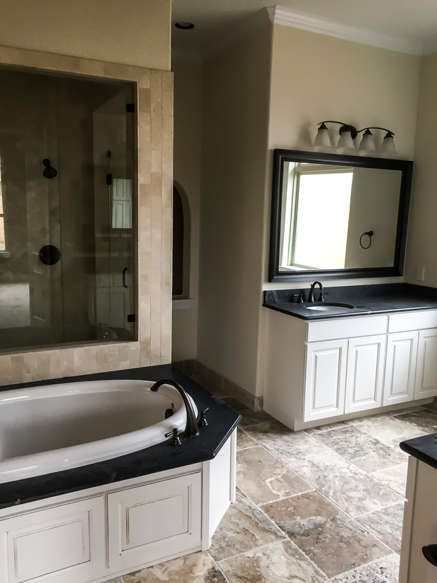 Traditional bathroom in katy tile floor white crown for Bath remodel katy