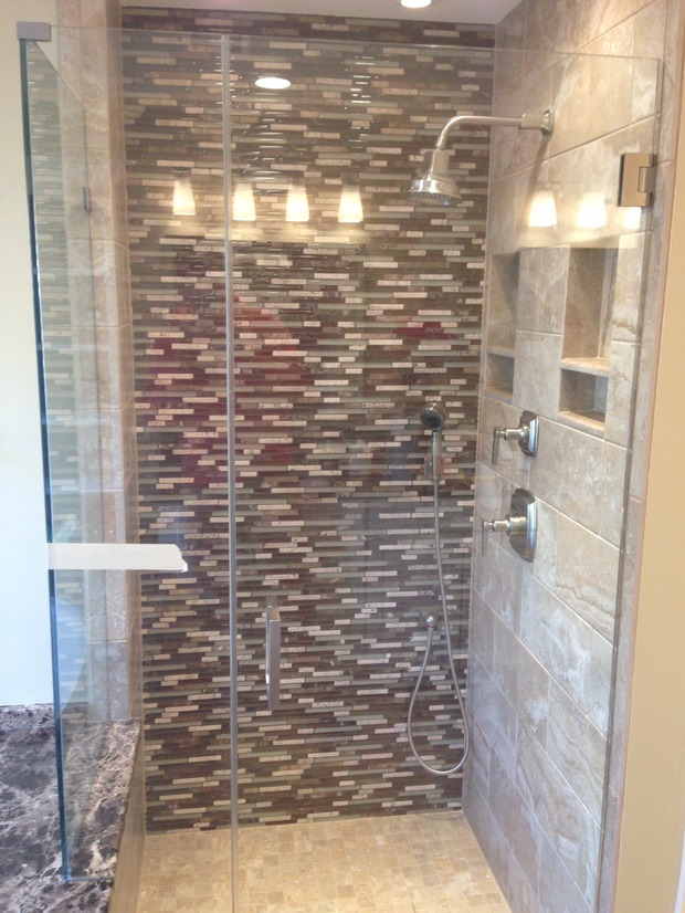 Traditional Bathroom In Centreville Mosaic Tile Shower Wall Frameless Glass Shower Door By