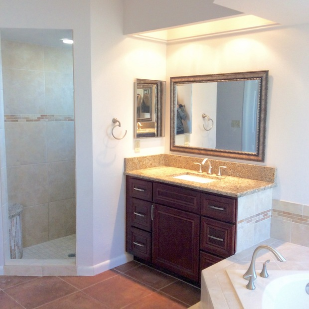 Transitional bathroom in orlando hidden ceiling light soaking tub by ace home remodeling inc for Bathroom remodeling orlando fl