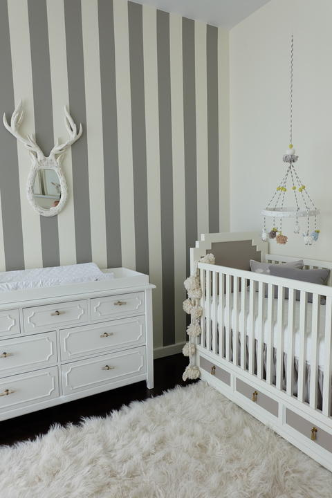 Modern Kids Room with grey and white striped wall