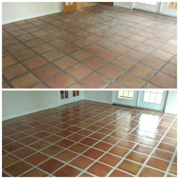 Southwestern Sunroom In Delray Clay Tile Floor Before