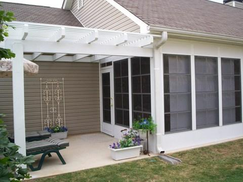 Traditional Patio with glass panel exterior door