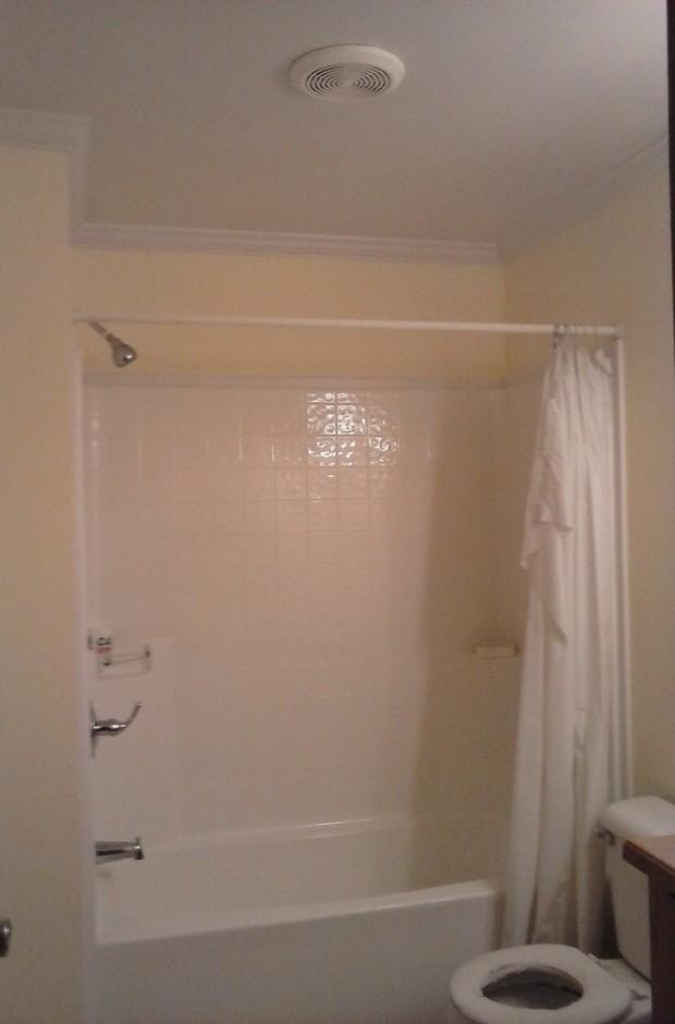 transitional bathroom in columbus crown molding acrylic