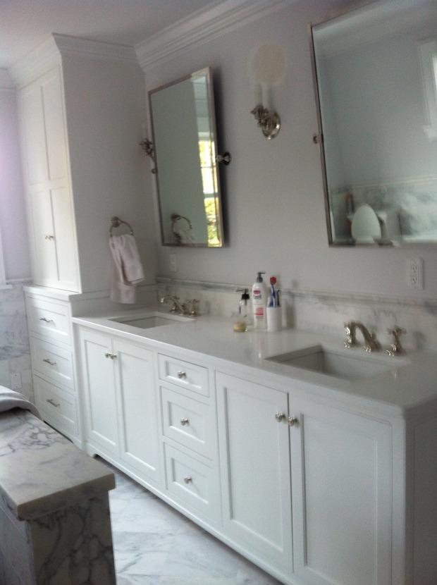 Transitional Bathroom In Pompano Beach Marble Tile Backsplash White Marble Tile Floor By