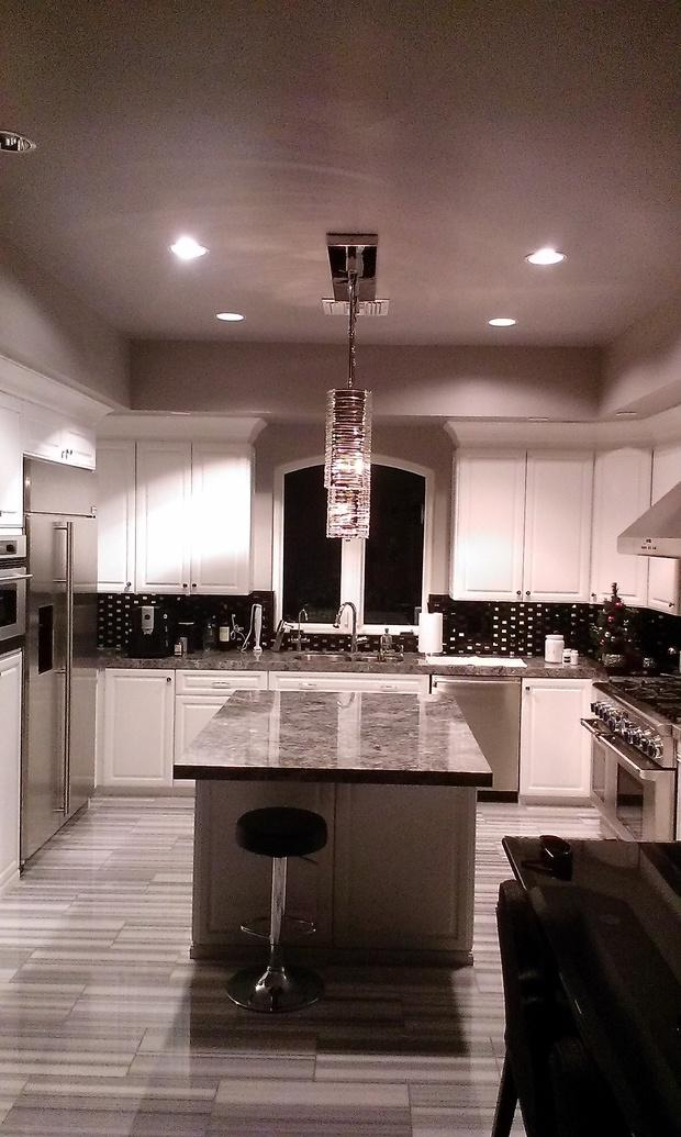 Contemporary kitchen in long beach pendant lights for Kitchen cabinets 90808