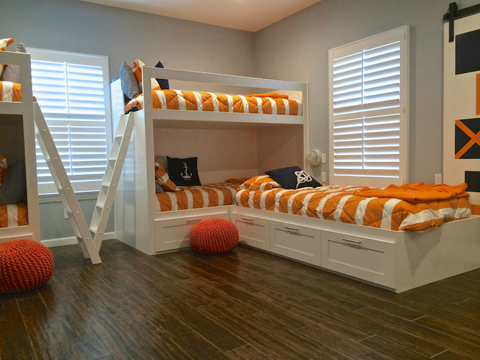 Transitional Kids Room with white custom composite shutters with hidden-tilt