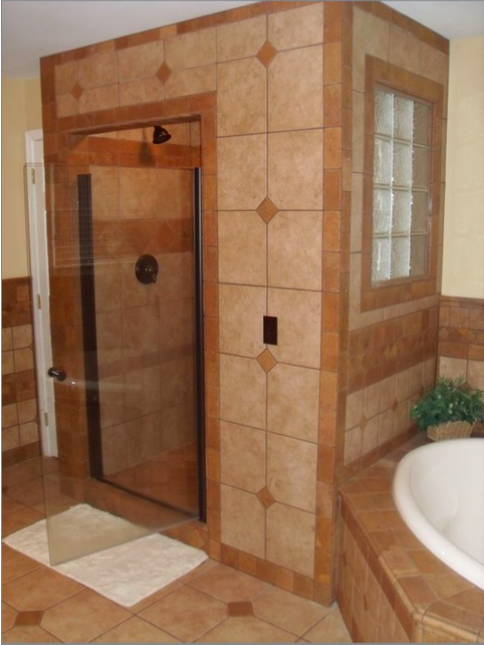 Traditional bathroom in lincolnton glass shower door for Garage door repair lincolnton nc
