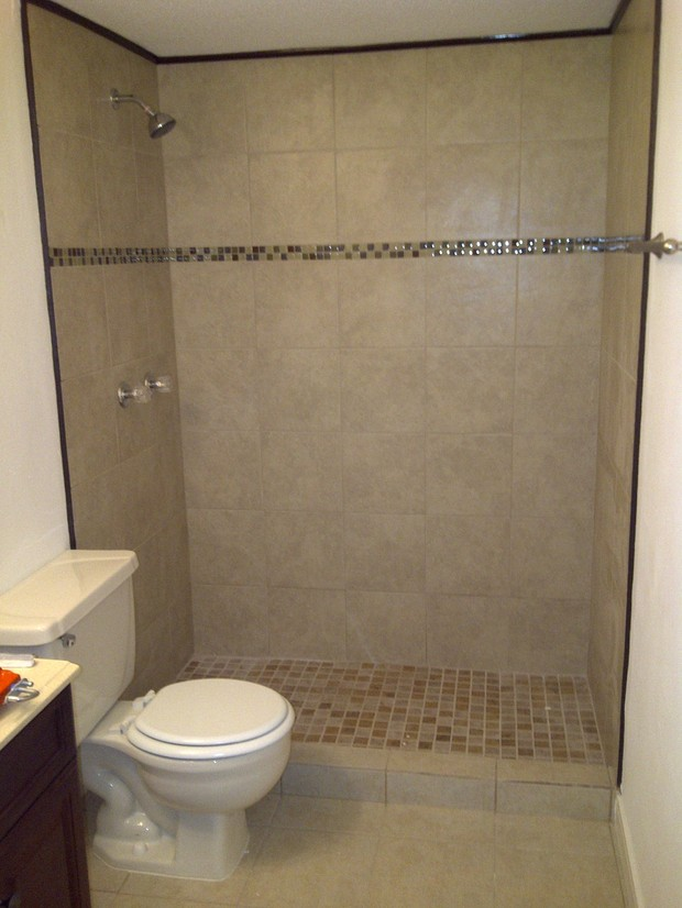Contemporary bathroom in houston walk in shower tile for Bathroom designs houston