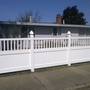 Traditional Landscape with 4ft white vinyl fence with bar topper