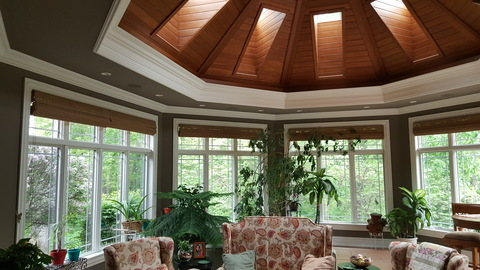 Transitional Sunroom with stained wood ceiling