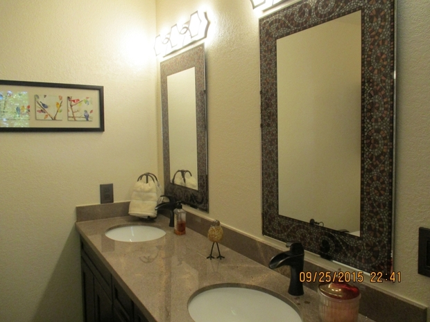 Transitional Bathroom In North Highlands Framed Vanity Mirrors Pump Handle Faucets By