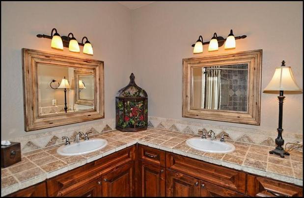 Southwestern Bathroom In Aurora Wood Framed Wall Mirrors