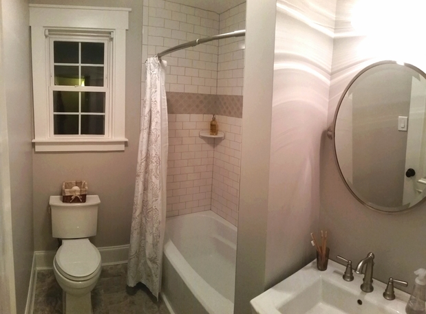 Contemporary Bathroom In Richmond Tile Shower Walls Gray Painted Walls By Maison