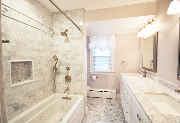 Transitional Bathroom In Richmond Baseboard Heater Shampoo Shelf By Maison Construction And