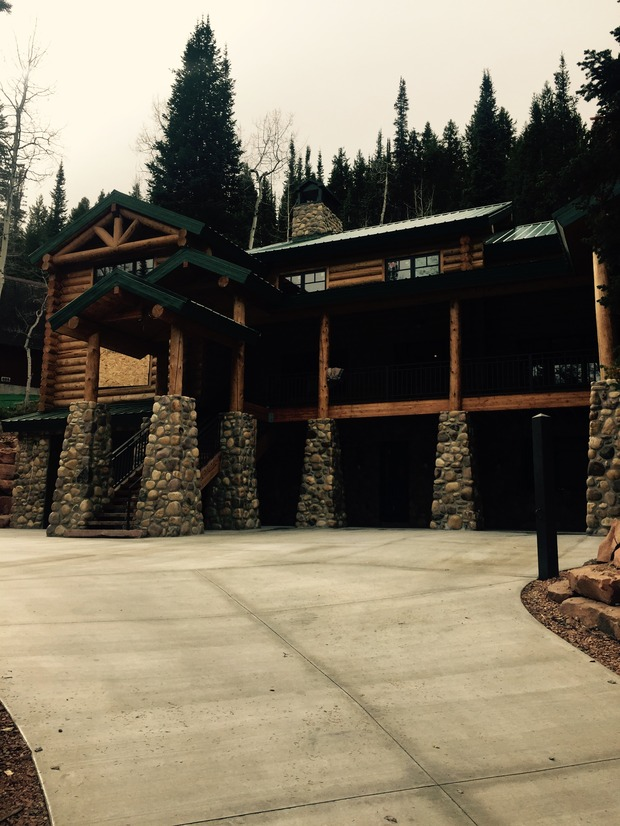 Lodge Home Exterior In Salt Lake City Natural Stone Column Base