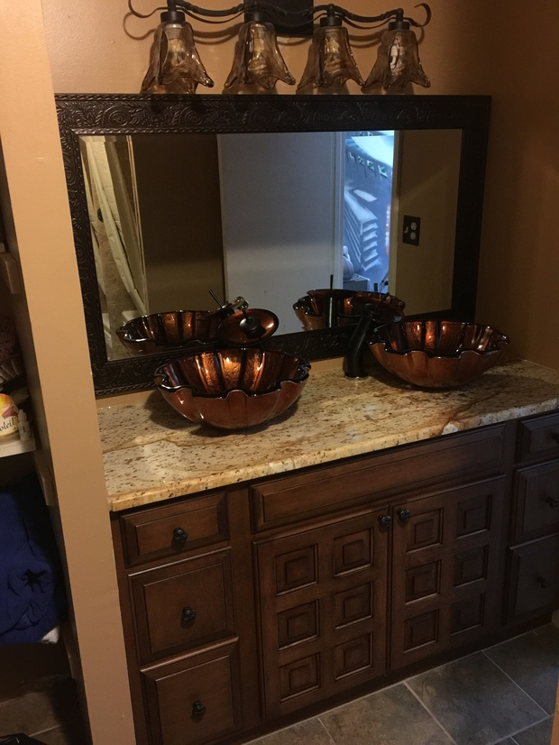 Eclectic bathroom in york double vanity waterfall for Bathroom cabinets york pa