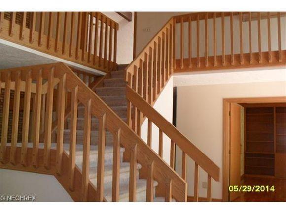 Mid century modern staircase in brunswick carpeting for Quarter landing staircase