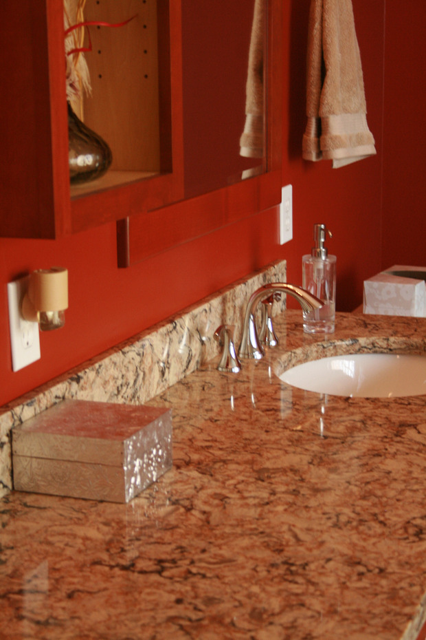 Transitional Bathroom In St Louis Laminate Backsplash Chrome Fixtures By Alsyra Designs Llc